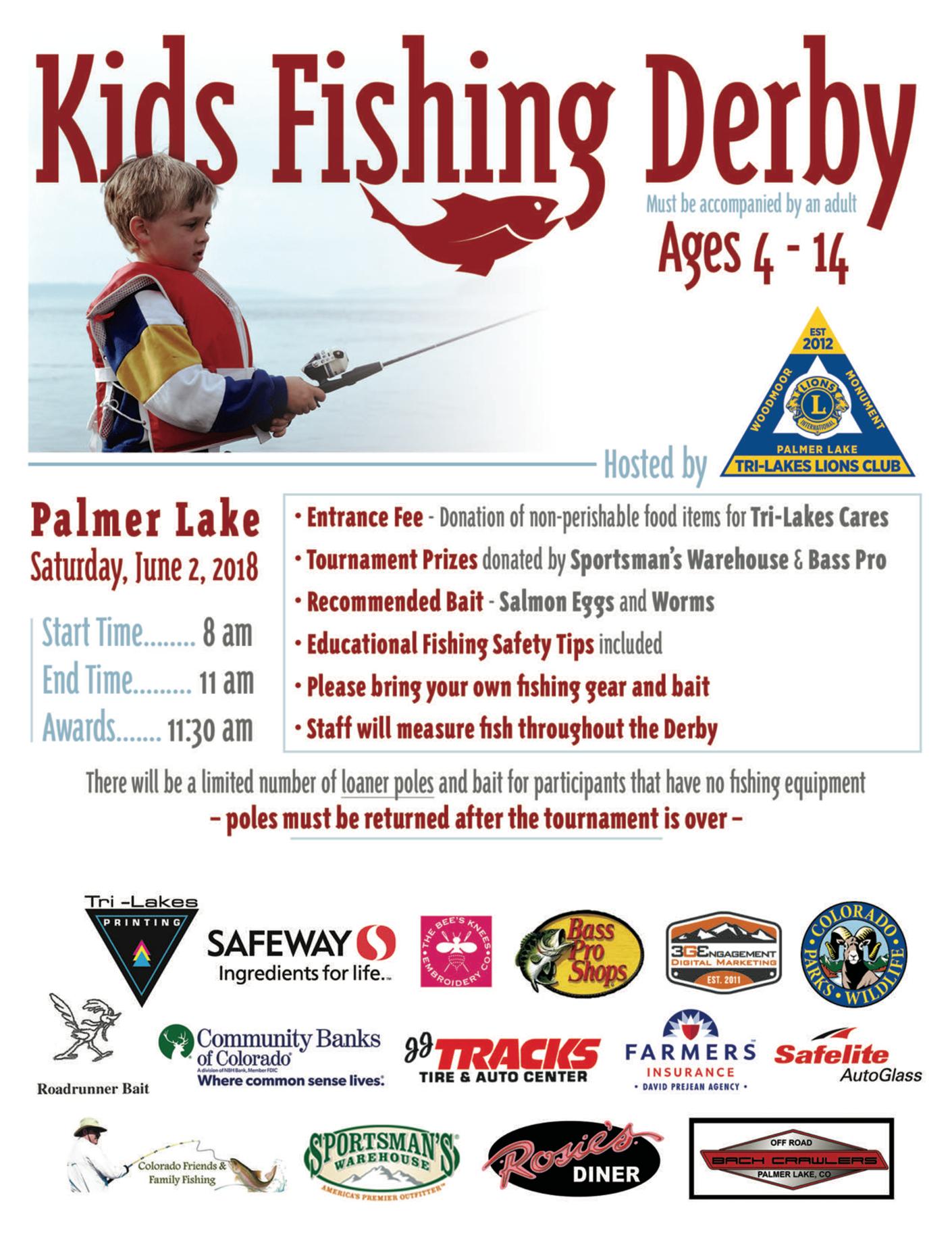 Tri-Lakes Lions Club 2018 Fishing Derby Flyer